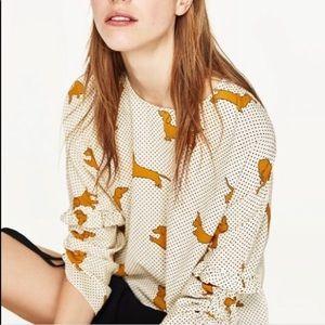 NWT Zara Dachshund blouse